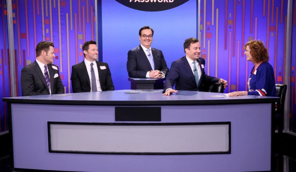THE TONIGHT SHOW STARRING JIMMY FALLON -- Episode 0265 -- Pictured: (l-r) Actor Nick Offerman, actor Hugh Jackman, announcer Steve Higgins, host Jimmy Fallon and actress Susan Sarandon play Password on May 18, 2015 -- (Photo by: Douglas Gorenstein/NBC)